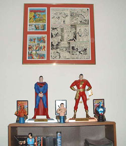 Alex Ross's Superman and Captain Marvel flank a page of original art from the classic MAD Magazine 'Superduperman' story!