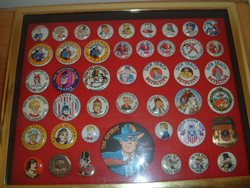 Martin's button collection featuring 4 different Captain Marvel buttons and a Spy Smasher to boot!