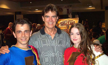 Kelly Delcambre as Captain Marvel, Jr., Jackson Bostwick, and Miriam Dafford as Mary Marvel